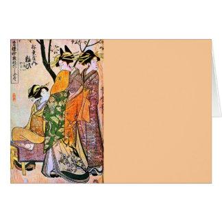 Carte Geisha japonais 1911 de la gravure trois