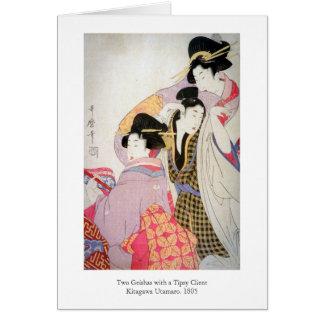 Carte Geishas d'Utamaro avec le client pompette