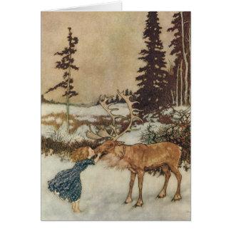 Carte Gerda vintage et le renne par Edmund Dulac