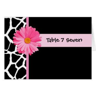 Carte Girafe rose et noire de nombre de Tableau de