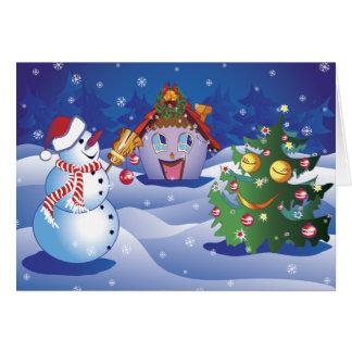 Carte Givré le bonhomme de neige avec un arbre de cabine