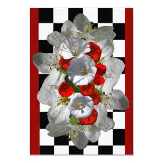 Carte Gloires de matin rouges avec les fleurs blanches