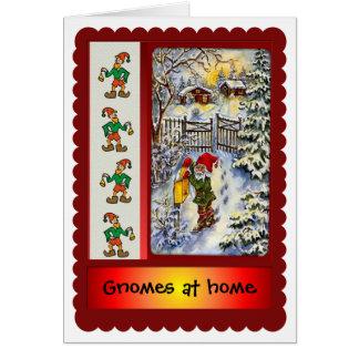 Carte Gnomes à la maison pour Noël