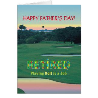 """Carte GOLF - retiré """"jouer au golf est un travail """""""