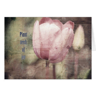 Carte Graines inspirées d'usine de tulipe rose de joie