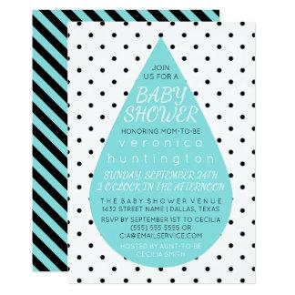 Carte Grand baby shower de bleu de goutte de pluie et de