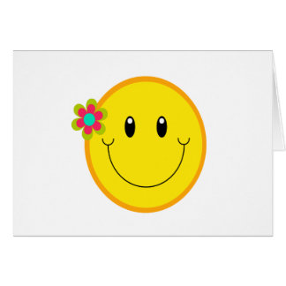 Carte Grand visage souriant jaune