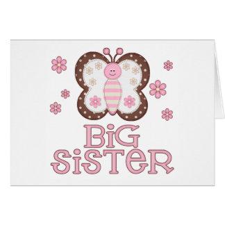 Carte Grande soeur de papillon rose