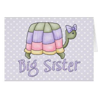 Carte Grande soeur de tortue en pastel