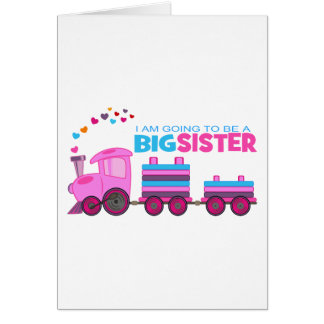 Carte Grande soeur de train rose