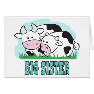 Carte Grande soeur de vaches mignonnes