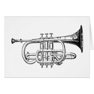 Carte Gravure du bois de trompette vintage