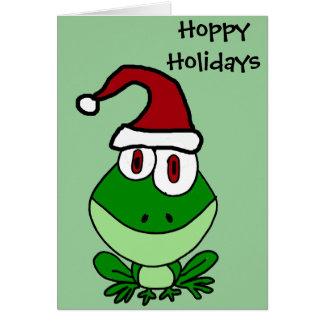 Carte Grenouille verte heureuse utilisant le casquette
