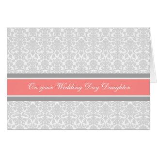 Carte Gris de corail de jour du mariage de félicitations