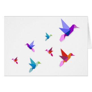 Carte Groupe de colibris d'origami