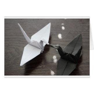 Carte grues romantiques d'origami