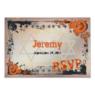 Carte grunge de Mitzvah RSVP de barre orange, Carton D'invitation 8,89 Cm X 12,70 Cm