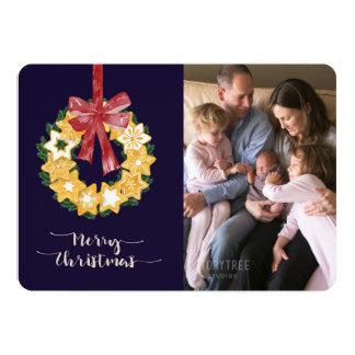 Carte Guirlande de biscuit de Noël avec l'arrière - plan