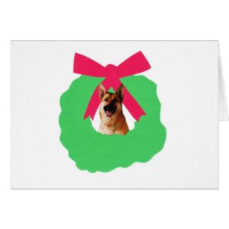 Carte Guirlande de Noël de vacances de berger allemand