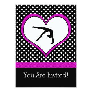 Carte Gymnastique à pois rose avec le coeur