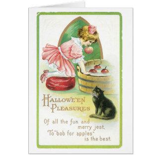 Carte Halloween démodé, fille et chat noir