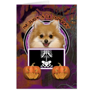 Carte Halloween - juste un Lil éffrayant - Pomeranian