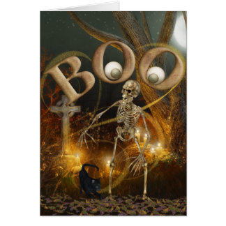 Carte Halloween squelettique et grave