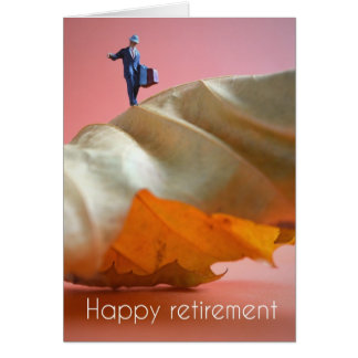 Carte Happy retirement - l'homme on a leaf