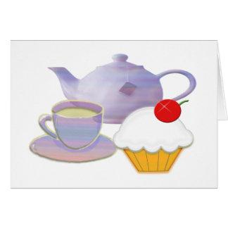 Carte Heure du thé et cadeaux d'art de petit gâteau de