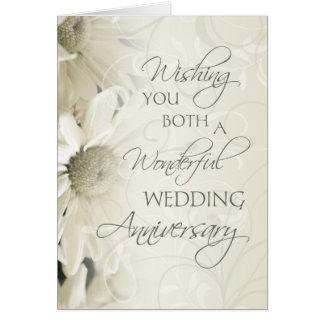Carte heureuse d'anniversaire de mariage de fleurs