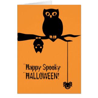 Carte Hibou-Batte-Araignée Halloween éffrayant