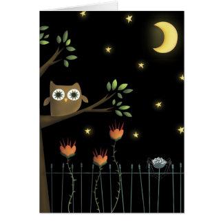 Carte Hibou et araignée de Halloween la nuit