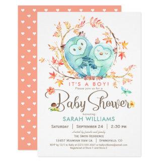 Carte Hiboux baby shower, feuille d'automne