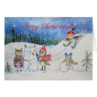 Carte Hiboux de Noël jouant dans la neige