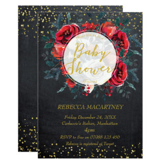 Carte hiver de scintillement d'or d'invitation de baby