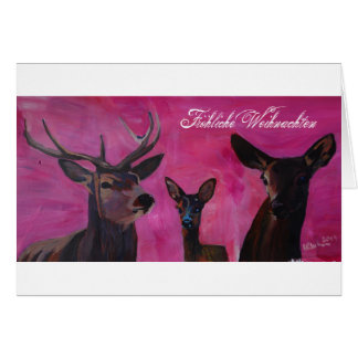 Carte Hiver l'Deer Family Noël joyeux