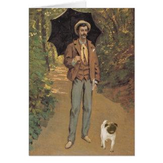 Carte Homme avec le carlin et le parasol