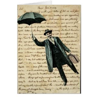 Carte Homme de parapluie de vol sur l'écriture vintage -