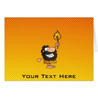 Carte Homme des cavernes jaune-orange