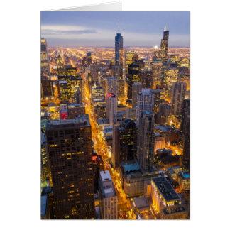 Carte Horizon du centre de Chicago au crépuscule