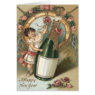Carte Horloge rose de bouteille de Champagne de fille