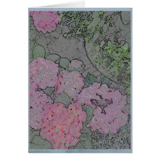 Carte Hortensia rose dans un jardin d'été