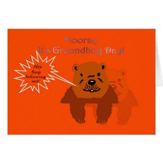 Carte Hourra c'est jour de Groundhog ! Ressort du jour