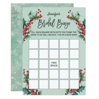 Carte Houx d'aquarelle et bingo-test nuptiale de baies