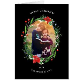 Carte Houx et genévrier de poinsettias de Noël floraux
