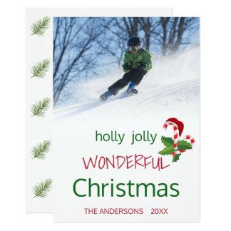Carte Houx gai de Noël de sucre de canne de houx