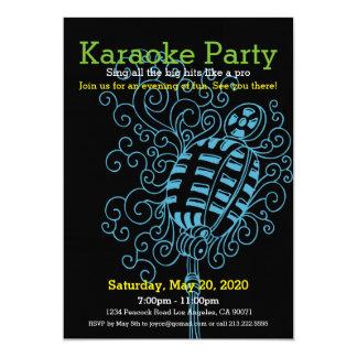 Carte Icône de gril d'invitation de partie de karaoke