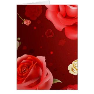 Carte illustration des roses blancs et rouges