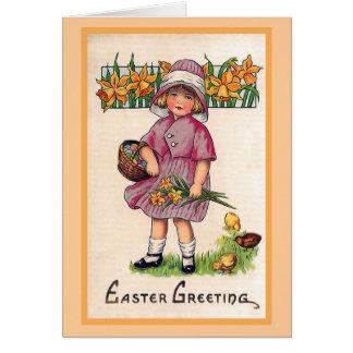 Carte Illustration vintage de Pâques de salutations de