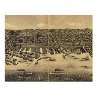 Carte imagée vintage de Duluth Minnesota (1887)